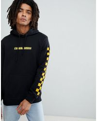 Criminal Damage - Hoodie In Black With Checkerboard Panel - Lyst