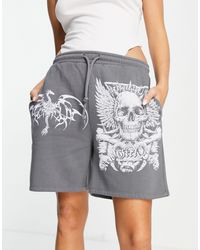 New Girl Order Oversized Sweat Shorts With Grunge Graphic Co-ord - Black