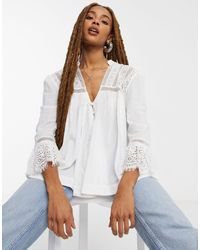 Free People Esme Button Down Embroidered Blouse - White
