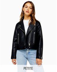TOPSHOP Petite Faux Leather Moto Jacket - Black