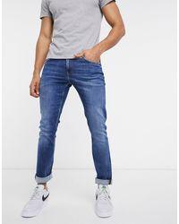 Calvin Klein Голубые Джинсы Узкого Кроя С Эффектом Потертости -синий