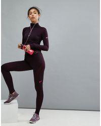 Nike - Pro Hyperwarm Tight In Burgundy - Lyst