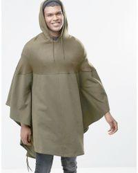 ASOS Hooded Poncho In Khaki - Green