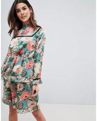 5e01a64a69 Velvet Trim Floral Midi Dress - Multicolour