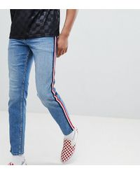 ASOS - Tall Slim Jeans In Mid Wash Blue With White Side Stripe - Lyst