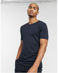 Only & Sons Longline Curved Hem T-shirt - Blue