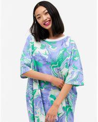 Monki Toonie Organic Cotton Marble Print Oversized Pyjama T-shirt - Blue