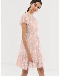 Needle & Thread Vestito midi rosa a fiori