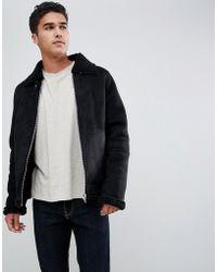 Barneys Originals - Suedette Borg Collar Jacket - Lyst
