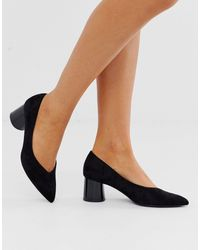 Stradivarius Faux Suede Mid Heel Shoes - Black