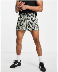 ASOS Swim Shorts With Money Print Short Length - Black