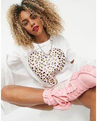 Love Moschino T-shirt avec cœur à motif léopard - Blanc
