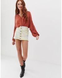 Glamorous Denim Skirt In Tie Dye - Red