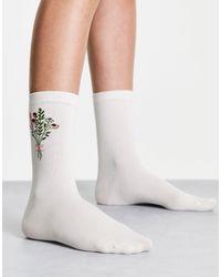 & Other Stories Белые Носки Из Органического Хлопка С Жаккардовым Цветочным Принтом -белый