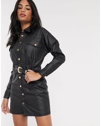 River Island Coated Denim Belted Shirt Dress - Black