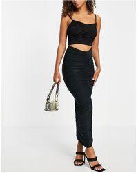 Club L London Ruched Maxi Skirt - Black