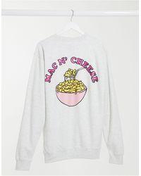 """New Love Club Felpa oversize grigia con stampa con scritta """"Mac n' cheese"""", colore grigio"""