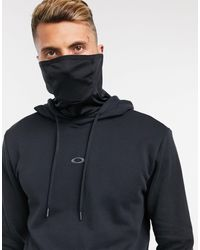 Oakley – er Kapuzenpullover mit Logo und Mund-Nasen-Schutz aus Stoff - Schwarz