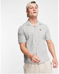 Lyle & Scott Рубашка Из Жатой Ткани В Клетку С Короткими Рукавами -серый