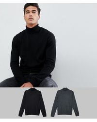 ASOS - Roll Neck Jumper In Black / Charcoal 2 Pack Save - Lyst