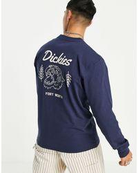 Dickies Halma Long Sleeve Back Print T-shirt - Blue