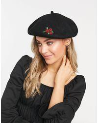 Monki Черный Берет С Вышитой Розой Holiday-черный Цвет