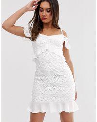 Love Triangle Белое Ажурное Платье С Оборками -белый