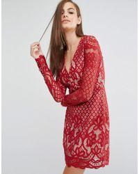 StyleStalker Long Sleeve V Neck Lace Mini Dress - Red