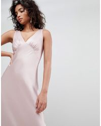 Ghost Bridesmaid Satin Maxi Dress With V Front & Back - Pink