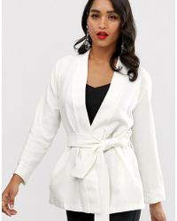Closet Closet Tie Waist Kimono Jacket - White