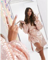 Missguided Золотисто-розовое Платье С Запахом И Пайетками -золотистый - Металлик