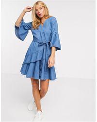 French Connection Ruffle Wrap Mini Dress - Blue