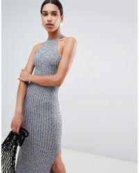 ASOS - Design Marl Rib Maxi Dress With Racer Neck - Lyst