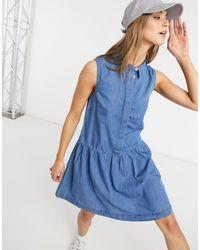 Warehouse Выбеленное Джинсовое Платье С Оборкой По Нижнему Краю -голубой - Синий