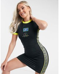 Nike Short Sleeve Dress With Peace Design And Yellow Trim - Black