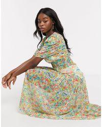 Never Fully Dressed - Плиссированное Прозрачное Платье Макси С Цветочным Принтом -мульти - Lyst