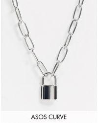 ASOS Asos Design Curve - Schakelketting Met Hangslotje - Metallic