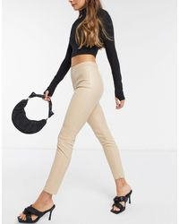 Mango Faux Leather Skinny Trousers - Natural
