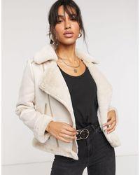 Fashion Union Faux Shearling Biker Jacket - Natural