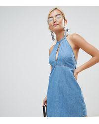 ASOS - Asos Design Petite Denim Halter Neck Mini Dress In Midwash Blue - Lyst