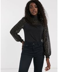 Oasis Mesh Blouse With Metallic Spots - Black