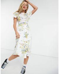 Warehouse Платье Миди Нейтрального Цвета С Принтом Роз Bonnie-бежевый - Естественный