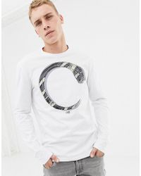 Class Roberto Cavalli T-shirt In White With Snake Print