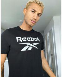 Reebok Черная Футболка С Принтом Training-черный
