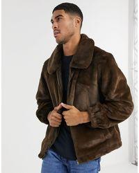 Urbancode Faux Fur Coach Jacket - Brown