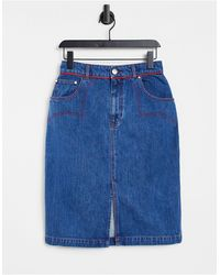 House of Holland Gonna di jeans stile western - Blu