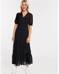 River Island Черное Ярусное Платье Макси -черный