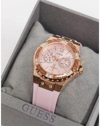 Guess – Armbanduhr mit rosafarbenem Armband - Mehrfarbig
