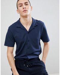 River Island - Revere Collar Regular Fit Jersey Shirt In Navy - Lyst