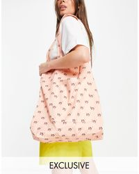 Reclaimed (vintage) Inspired Canvas Tote Bag - Pink